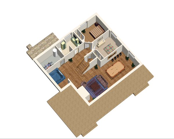 Cabin Floor Plan - Lower Floor Plan Plan #25-4737