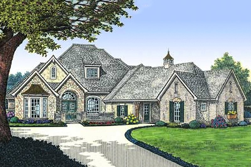 European Style House Plan - 4 Beds 3.5 Baths 3070 Sq/Ft Plan #310-235 Exterior - Front Elevation