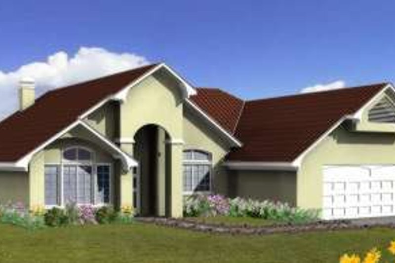 Adobe / Southwestern Style House Plan - 3 Beds 2.5 Baths 1697 Sq/Ft Plan #1-625 Exterior - Front Elevation