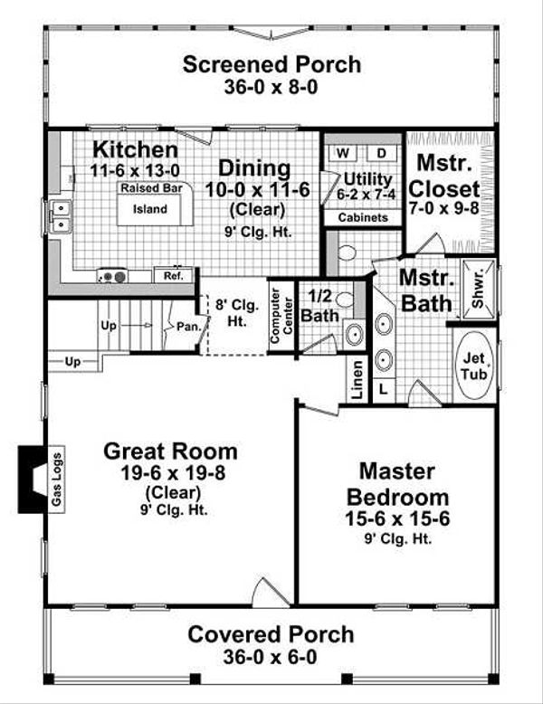 Farmhouse Floor Plan - Main Floor Plan Plan #21-227