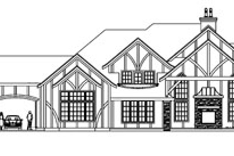 Tudor Exterior - Rear Elevation Plan #124-748 - Houseplans.com