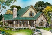 Country Style House Plan - 2 Beds 3 Baths 1898 Sq/Ft Plan #140-154 Exterior - Front Elevation