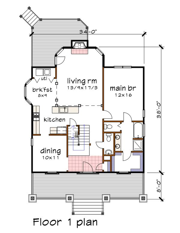 Craftsman Floor Plan - Main Floor Plan Plan #79-222