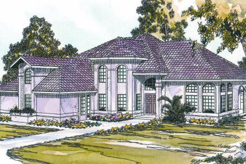Mediterranean Style House Plan - 4 Beds 3 Baths 3881 Sq/Ft Plan #124-645 Exterior - Front Elevation