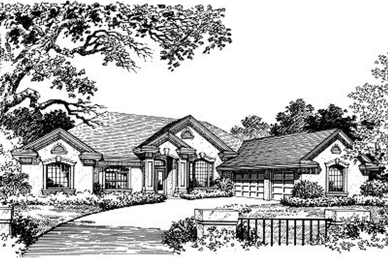 European Style House Plan - 4 Beds 3 Baths 2766 Sq/Ft Plan #417-330 Exterior - Front Elevation