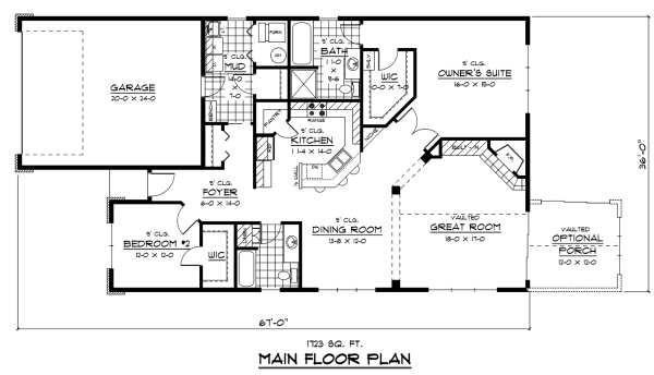 Traditional Floor Plan - Main Floor Plan Plan #51-245