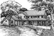 Country Style House Plan - 5 Beds 4.5 Baths 3621 Sq/Ft Plan #50-150 Exterior - Other Elevation