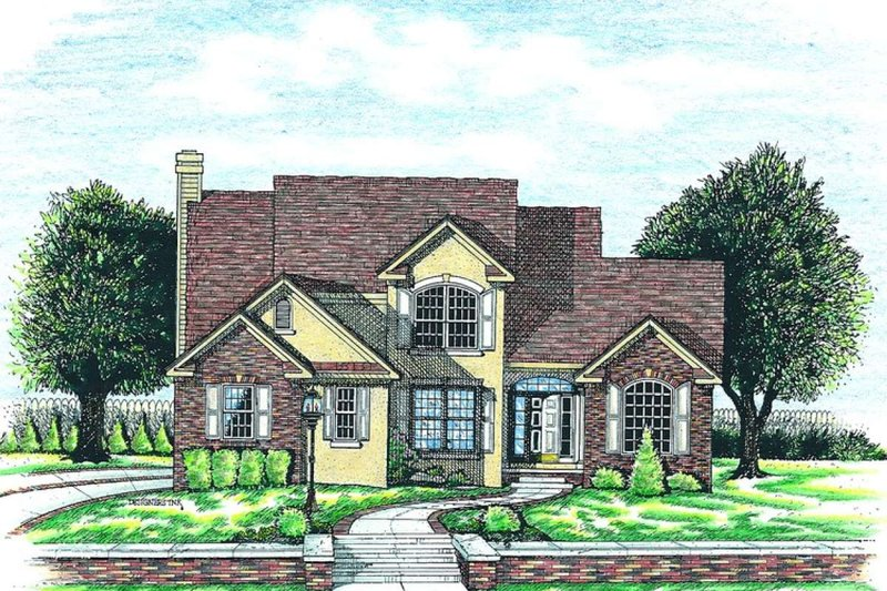 Traditional Style House Plan - 4 Beds 3.5 Baths 2752 Sq/Ft Plan #20-1006 Exterior - Front Elevation