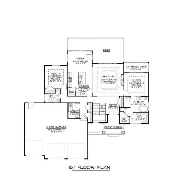 Ranch Floor Plan - Main Floor Plan #1064-86