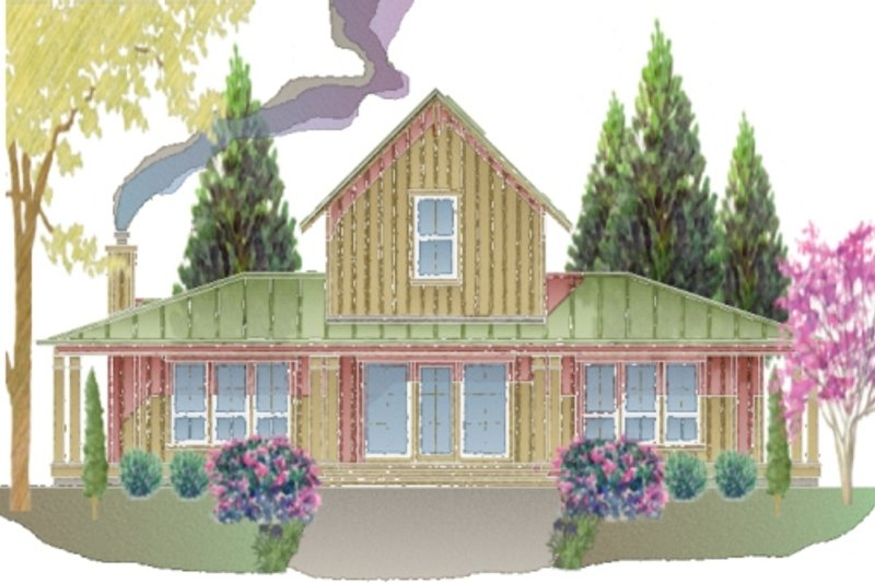 Farmhouse Style House Plan - 3 Beds 2 Baths 1592 Sq/Ft Plan #487-7 Exterior - Front Elevation