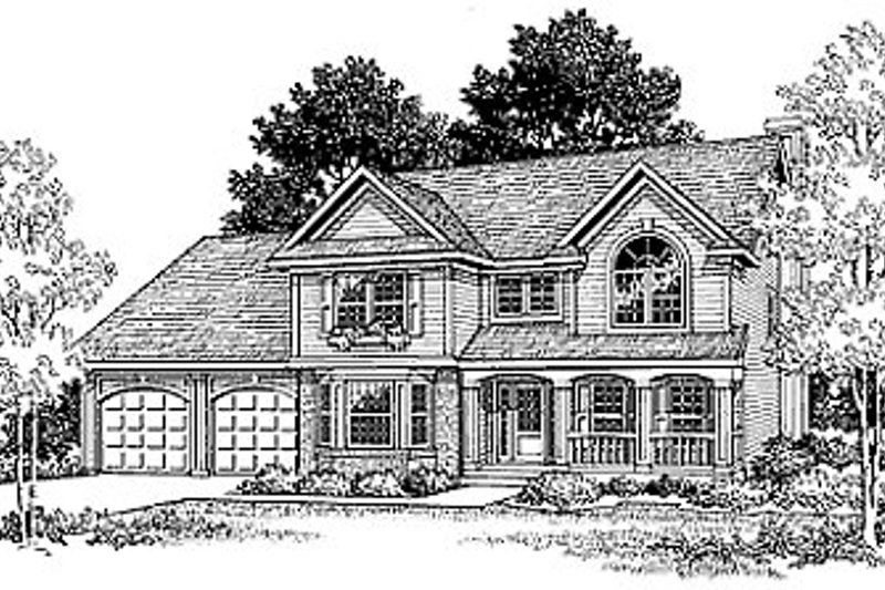 Traditional Style House Plan - 4 Beds 2.5 Baths 2120 Sq/Ft Plan #70-308 Exterior - Front Elevation