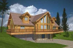 Log Exterior - Front Elevation Plan #117-128