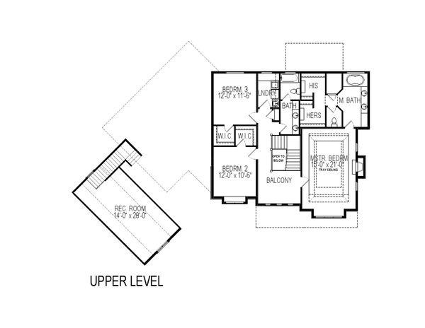 Traditional Floor Plan - Upper Floor Plan Plan #920-84