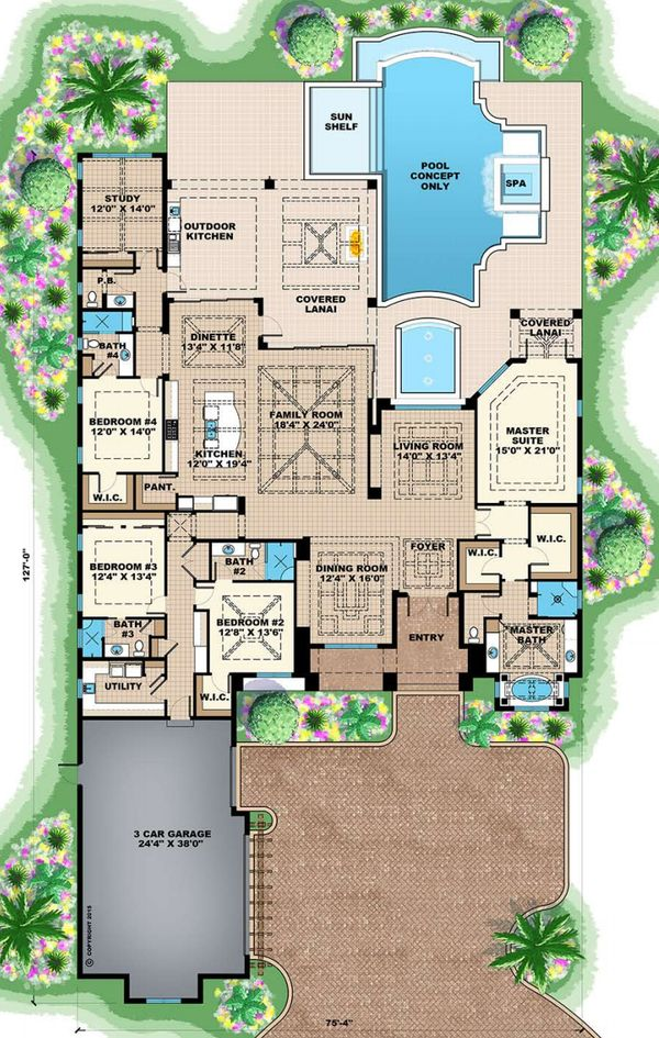 Southern Floor Plan - Main Floor Plan Plan #27-554