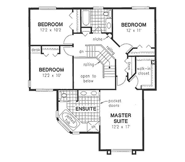 Mediterranean Floor Plan - Upper Floor Plan Plan #18-240