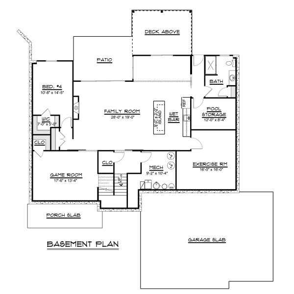 Ranch Floor Plan - Lower Floor Plan #1064-41
