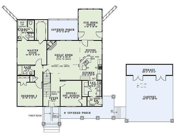 Dream House Plan - Craftsman Floor Plan - Main Floor Plan #17-2475