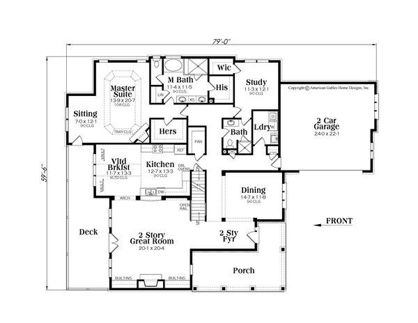 Craftsman Floor Plan - Main Floor Plan Plan #419-269