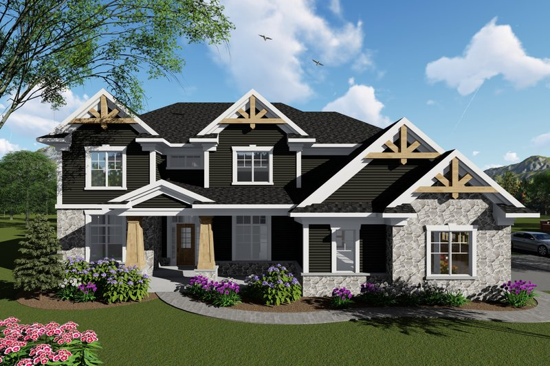 Architectural House Design - Craftsman Exterior - Front Elevation Plan #70-1432