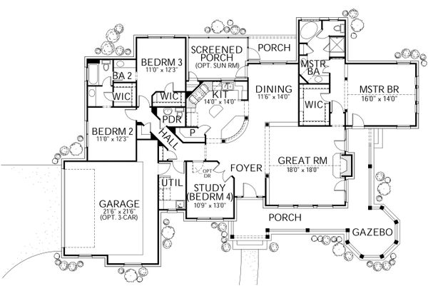 Country Floor Plan - Main Floor Plan Plan #80-119