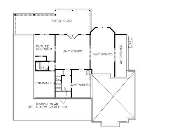 Farmhouse Floor Plan - Lower Floor Plan Plan #54-378