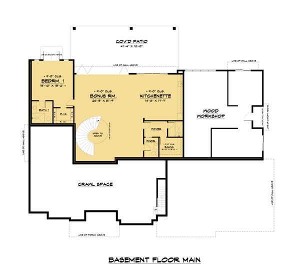 Contemporary Floor Plan - Lower Floor Plan #1066-112