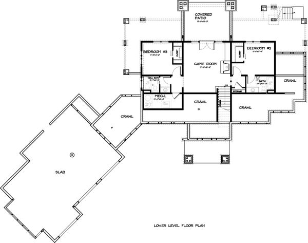 Ranch Floor Plan - Lower Floor Plan Plan #895-29