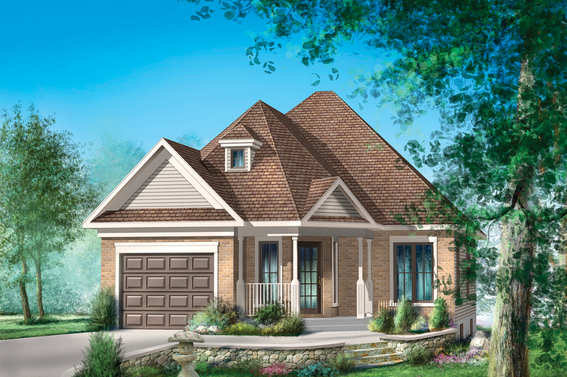 Traditional Style House Plan - 2 Beds 1 Baths 910 Sq/Ft Plan #25-4442 Exterior - Front Elevation