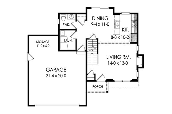 Traditional Floor Plan - Main Floor Plan Plan #1010-219