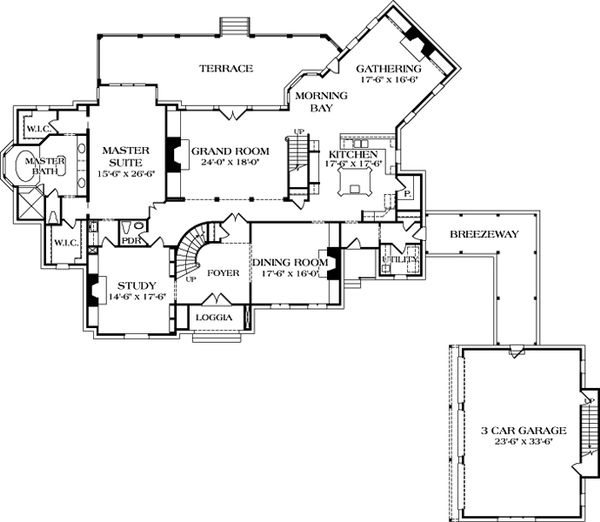 European Floor Plan - Main Floor Plan Plan #453-47