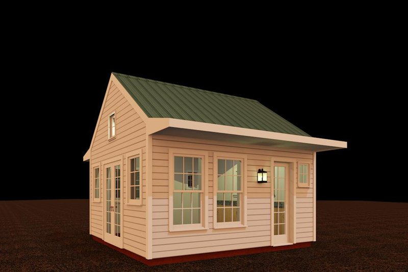 Colonial Style House Plan - 1 Beds 1 Baths 192 Sq/Ft Plan #917-23
