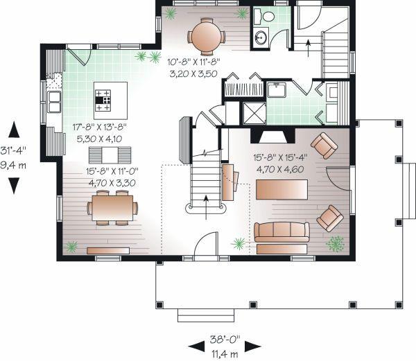 European Floor Plan - Main Floor Plan Plan #23-819