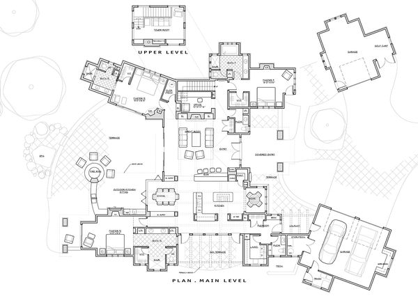 Prairie style house plan, main level floor plan