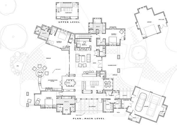 Dream House Plan - Prairie style house plan, main level floor plan