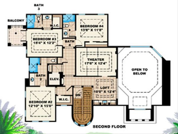 Mediterranean Floor Plan - Upper Floor Plan Plan #27-386