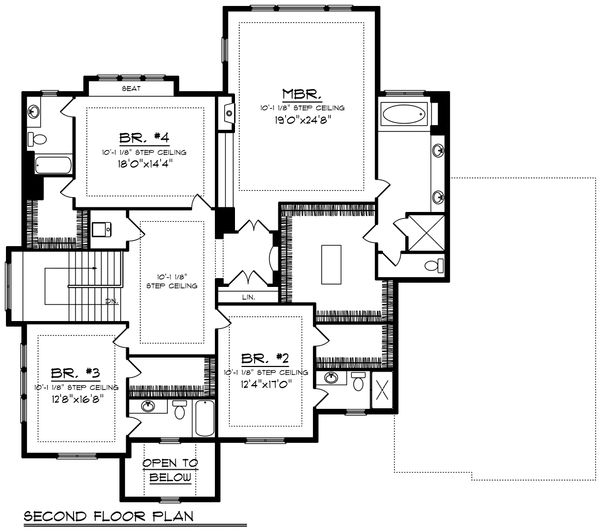 Tudor Floor Plan - Upper Floor Plan Plan #70-1205