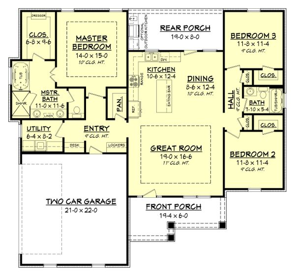 Craftsman Floor Plan - Main Floor Plan Plan #430-149