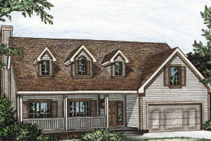Country Style House Plan - 3 Beds 2 Baths 1497 Sq/Ft Plan #20-121 Exterior - Front Elevation