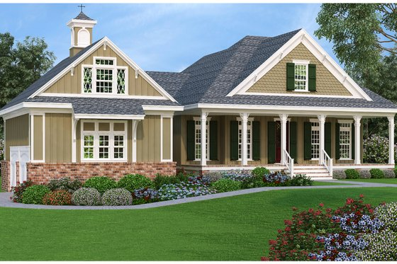 Architectural House Design - Southern Exterior - Front Elevation Plan #45-572