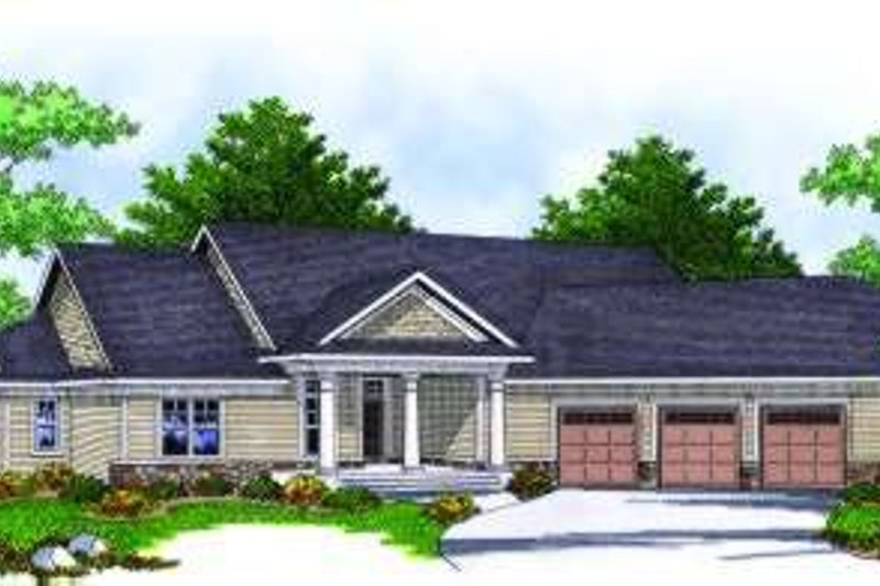 Dream House Plan - Traditional Exterior - Front Elevation Plan #70-805