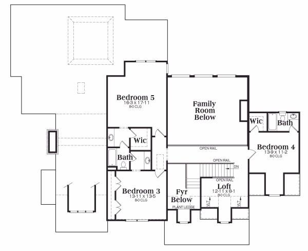 Traditional Floor Plan - Upper Floor Plan Plan #419-123