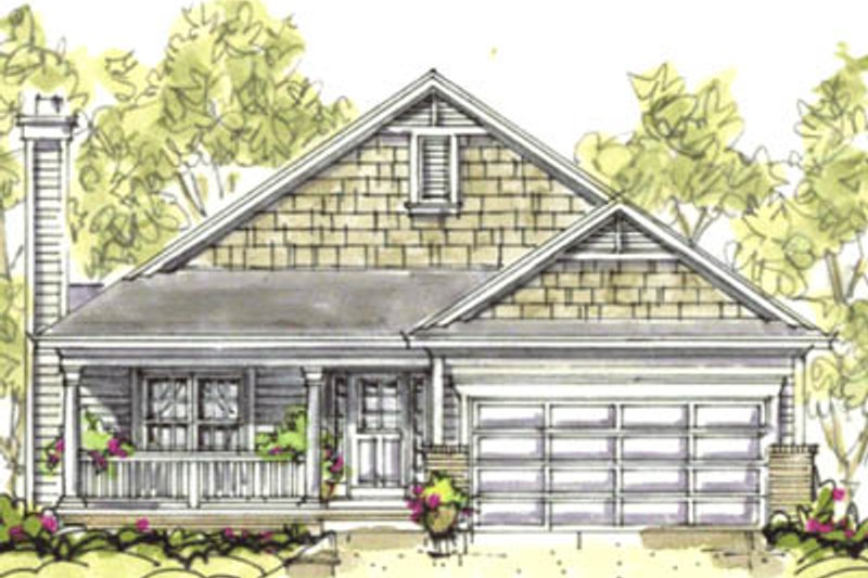 Craftsman Style House Plan - 3 Beds 2 Baths 1195 Sq/Ft Plan #20-1204 Exterior - Front Elevation