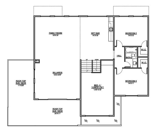 Modern Floor Plan - Upper Floor Plan Plan #1073-4