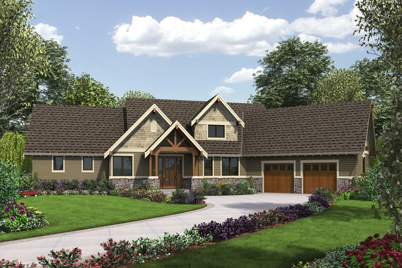Craftsman Style House Plan - 3 Beds 2.5 Baths 2532 Sq/Ft Plan #48-655 Exterior - Front Elevation