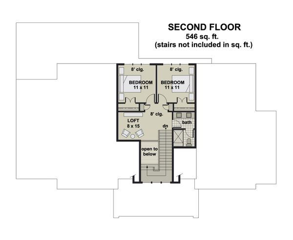 Farmhouse Floor Plan - Upper Floor Plan #51-1163
