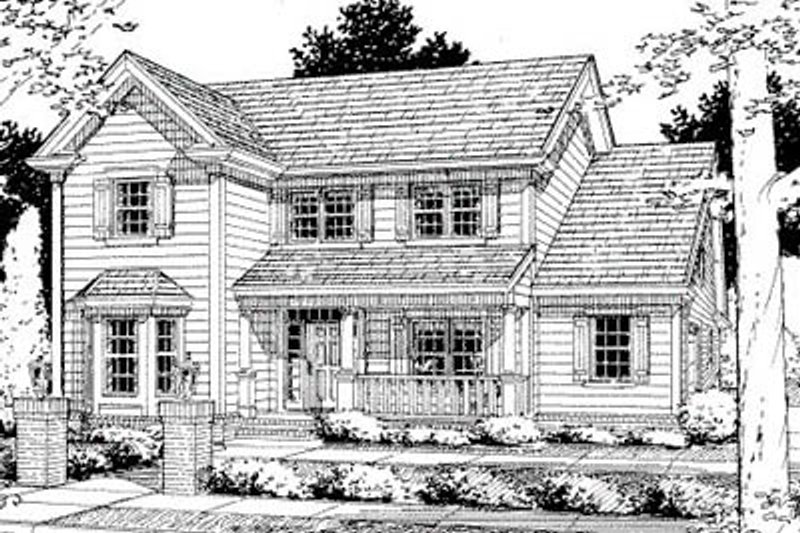 Traditional Style House Plan - 3 Beds 2.5 Baths 1920 Sq/Ft Plan #20-330 Exterior - Front Elevation