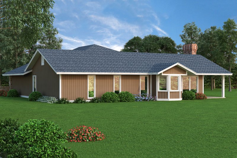 Ranch Exterior - Rear Elevation Plan #45-375 - Houseplans.com