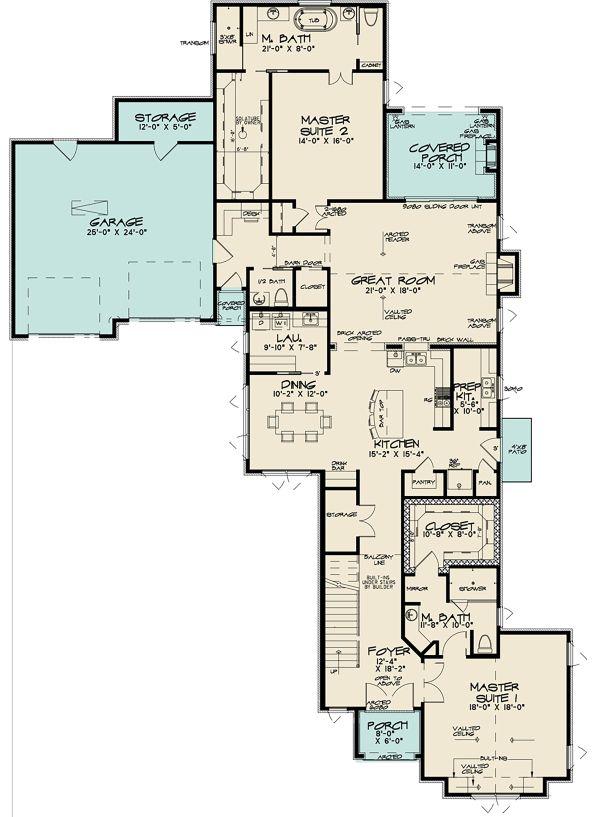 Dream House Plan - Contemporary Floor Plan - Main Floor Plan #17-3422