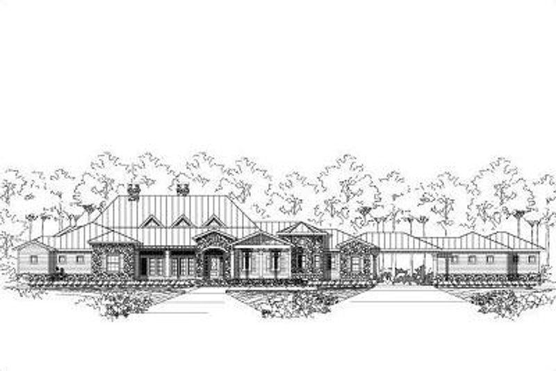 Mediterranean Style House Plan - 4 Beds 4.5 Baths 3882 Sq/Ft Plan #411-271 Exterior - Front Elevation