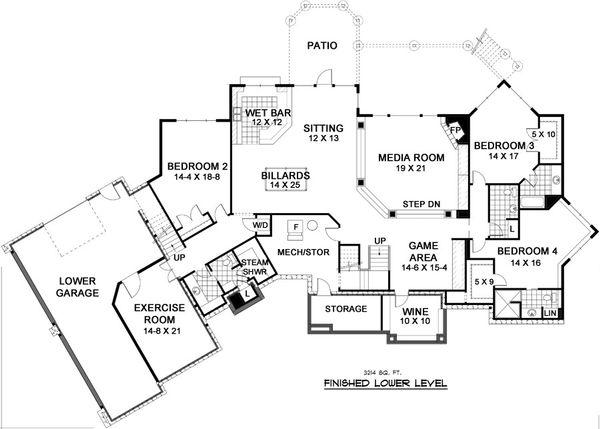 European Style House Plan - 5 Beds 4.5 Baths 6690 Sq/Ft Plan #51-338 Floor Plan - Lower Floor Plan